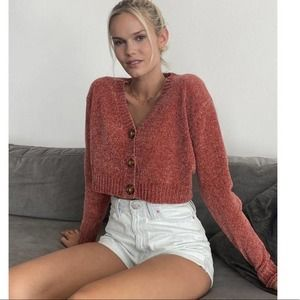Urban Outfitters Maura Chenille Cropped Cardigan M